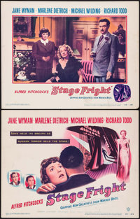 "Stage Fright (Warner Brothers, 1950). Title Lobby Card & Lobby Card (11"" X 14""). Hitchcock. ... (Total..."