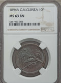 German New Guinea:German Colony, German New Guinea: German Colony. Wilhelm II 10 Pfennig 1894-A MS63 Brown NGC,  ...