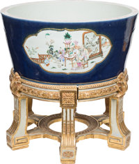 A Pair of Chinese Famille Rose Enameled and Blue Underglazed Porcelain Fishbowls with Stands, Qing Dynasty, 19th cent