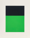Prints, Ellsworth Kelly (1923-2015). Black/Green, 1970. Screenprint in colors on Arjomari paper. 15-1/2 x 11-1/4 inches (39.4 x ...