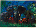 Prints:Contemporary, LeRoy Neiman (1921-2012). Elephant Stampede, 1976.Screenprint in colors on wove paper. 30 x 40 inches (76.2 x 101.6cm)...