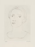 Prints, Henry Moore (1898-1986). Head of girl II, 1979. Etching and drypoint on Barcham Green paper. 10 x 7-1/4 inches (25.4 x 1...