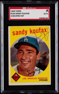 Autographs:Sports Cards, Signed 1959 Topps Sandy Koufax #163 SGC Authentic. ...