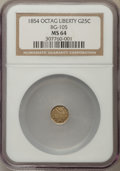 California Fractional Gold , 1854 25C Liberty Octagonal 25 Cents, BG-105, R.3, MS64 NGC. NGCCensus: (17/14). PCGS Population: (72/25). ...