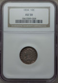 Bust Dimes: , 1834 10C Small 4 AU50 NGC. NGC Census: (14/209). PCGS Population:(20/148). CDN: $360 Whsle. Bid for problem-free NGC/PCGS ...