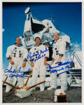Autographs:Celebrities, Apollo 12 Crew-Signed White Spacesuit Color Photo. ...