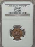 Civil War Tokens, (1861-65) Civil War Token, Our Army, F-51/334d, MS64 Red and BrownNGC....