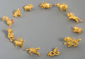 Asian:Chinese, Twelve Chinese 24K Gold Zodiac Figures, late 20th century. Marks:(gold hallmarks). 0-3/4 inches high (1.9 cm) (tallest). 78...(Total: 12 Items)