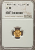 Gold Dollars, 1849 G$1 Closed Wreath, D-5, Close Stars, MS64 NGC....