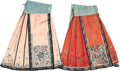 Asian:Chinese, Two Chinese Embroidered Silk Dresses. 49 inches wide (waist) x 84inches wide (hem) (124.5 x 213.4 cm) (skirt, laid flat). ...(Total: 2 Items)