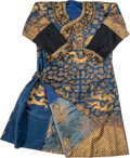 Asian:Chinese, A Chinese Bullion-Embroidered Silk Dragon Robe, late Qing Dynasty,19th century. 49 inches high (flat, middle of collar to l...