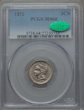 Three Cent Nickels: , 1872 3CN MS64 PCGS. CAC. PCGS Population: (54/42). NGC Census: (48/25). CDN: $450 Whsle. Bid for problem-free NGC/PCGS MS64...