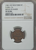 Civil War Merchants, (1861-65) Token Broas Pie Baker, New York NY, F-630L-17a, XF45 NGC.This lot also includes the following: 1863 Token M. ... (Total: 4coins)