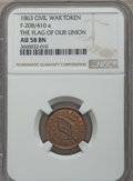 Civil War Tokens, 1863 Civil War Token, The Flag of Our Union, F-208/410 a, AU58 NGC.This lot also includes the following: 1863 Civil War T... (Total: 3coins)