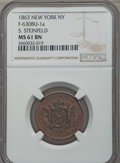 Civil War Merchants, 1863 Token S. Steinfeld, New York NY, F-630BU-1a, MS61 Brown NGC.This lot also includes the following: 1863 Token Oliv... (Total: 3coins)