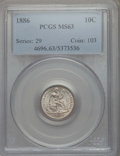 Seated Dimes: , 1886 10C MS63 PCGS. PCGS Population: (143/281). NGC Census: (103/306). CDN: $190 Whsle. Bid for problem-free NGC/PCGS MS63....