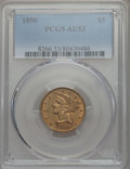 Liberty Half Eagles: , 1856 $5 AU53 PCGS. PCGS Population: (39/113). NGC Census: (58/243). Mintage 197,990. ...