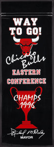 Basketball Collectibles:Others, 1996 Chicago Bulls Championship Banner Hung on Chicago Streets....