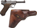 Handguns:Semiautomatic Pistol, German Erfurt 1917 Luger Semi-Automatic Pistol with LeatherHolster.... (Total: 2 Items)