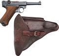 Handguns:Semiautomatic Pistol, German byf 42 Code Luger Semi-Automatic Pistol with Leather Holster.... (Total: 2 Items)