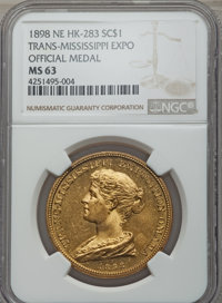 1898 Trans-Mississippi Exposition Official Medal MS63 NGC, HK-283, brass; 1904 Louisiana Purchase Exposition Official So...