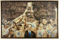 Basketball Collectibles:Others, 2010 Mike Krzyzewski Signed Oversized National Champion Duke Canvas Display....