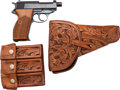 Handguns:Semiautomatic Pistol, German Walther P38 Semi-Automatic Pistol with Leather Holster....(Total: 3 Items)