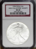 Modern Bullion Coins: , 1994 $1 Silver Eagle MS68 NGC. NGC Census: (1649/44054). PCGSPopulation (1373/1839).Mintage: 4,227,319. Numismedia Wsl. Pr...