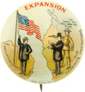 "Political:Pinback Buttons (1896-present), McKinley & Roosevelt with Bryan: 1¾"" Expansion Celluloid...."