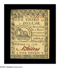 Colonial Notes:Continental Congress Issues, Continental Currency February 17, 1776 $1/3 Choice About New. This great looking Fractional Continental is separated from th...