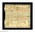 Colonial Notes:Georgia, Georgia 1773 20s Very Fine Repaired. A very scarce one-note issuethat carries seven signatures, including the very distinct...