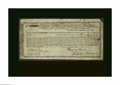 Colonial Notes:Massachusetts, Massachusetts Commodity Bond January 1, 1780 Very Fine, repairs.Listed in Anderson as MA-21 and considered by him to be an ...