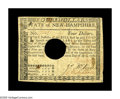 Colonial Notes:New Hampshire, New Hampshire April 29, 1780 $4 Very Fine. Hole-canceled with thetypical large hole. There are also a few scattered stains ...