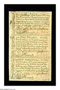 Colonial Notes:North Carolina, North Carolina December, 1771 Strip of Three Very Choice New. Thestrip has a 2s/6d, 10s, and L1 note. The 2s/6d note has th...