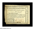 Colonial Notes:North Carolina, North Carolina May 10, 1780 $25 About New. Wrinkled, aged, andslightly damaged at the far left end, but otherwise extremely...