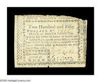 North Carolina May 10, 1780 $250 Fine. Very Fine in many of its elements, but it regularly trimmed into the design acros...