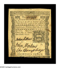 Colonial Notes:Pennsylvania, Pennsylvania April 3, 1772 18d New. There are a few aged spots atthe bottom margin that cuts a bit into the design, but the...