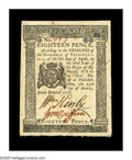 Colonial Notes:Pennsylvania, Pennsylvania April 25, 1776 18d Choice About New. There is a soft,broad corner-fold on this gorgeous Pennsylvania note. It'...