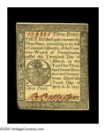 Colonial Notes:Pennsylvania, Pennsylvania April 10, 1777 3d Very Choice New. A lovely note, withexcellent margins, bright color, ideal centering of both...