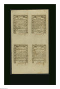 Colonial Notes:Rhode Island, Rhode Island May 1786 Half Sheet of Four Superb Gem New. One eachof the 6d, 9d, 1s, 2s6d notes. All four are Superb broadly...