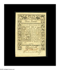 Colonial Notes:Rhode Island, Rhode Island May 1786 L3 Choice About New. This L3 note carriesthree signatures and is printed on both sides unlike the low...