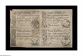 Colonial Notes:South Carolina, South Carolina April 10, 1778 Uncut Sheet of Four Choice New. Thereis one each of the 2s/6d, 3s/9d, 5s, and 10s. The two le...