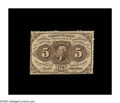 Fractional Currency:First Issue, Fr. 1229 5¢ First Issue Very Choice New. Deep full perforationssurround this scarce, no-monogram type, which comes very clo...