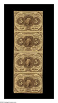 Fractional Currency:First Issue, Fr. 1230 5¢ First Issue Vertical Strip of Four Choice New. Abright, attractive, strictly original strip. The bottom note is...