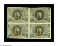 Fractional Currency:Second Issue, Fr. 1246 Milton 2R10.3c 10¢ Second Issue Inverted Back Surcharge Block of Four Extremely Fine. Viewed individually, two of t...