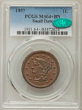 Large Cents: , 1857 1C Small Date MS64+ Brown PCGS. CAC. PCGS Population: (28/3 and 3/0+). NGC Census: (0/0 and 0/0+). CDN: $950 Whsle. Bi...