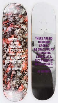 Ai Weiwei (Chinese, b. 1957-) Crabs and F*!?k (two works), 2013 Silkscreen on skate deck 31 x 8 i