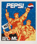 Prints & Multiples, Guangyi Wang (Chinese, b. 1957-). Pepsi, from The Great Criticism series, 2006. Lithograph in colors on wove paper. 44-1...