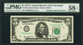Error Notes:Doubled Face Printing, Fr. 1975-D $5 1977A Federal Reserve Note. PMG Choice About Unc 58 EPQ.. ...