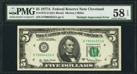 Fr. 1975-D $5 1977A Federal Reserve Note. PMG Choice About Unc 58 EPQ